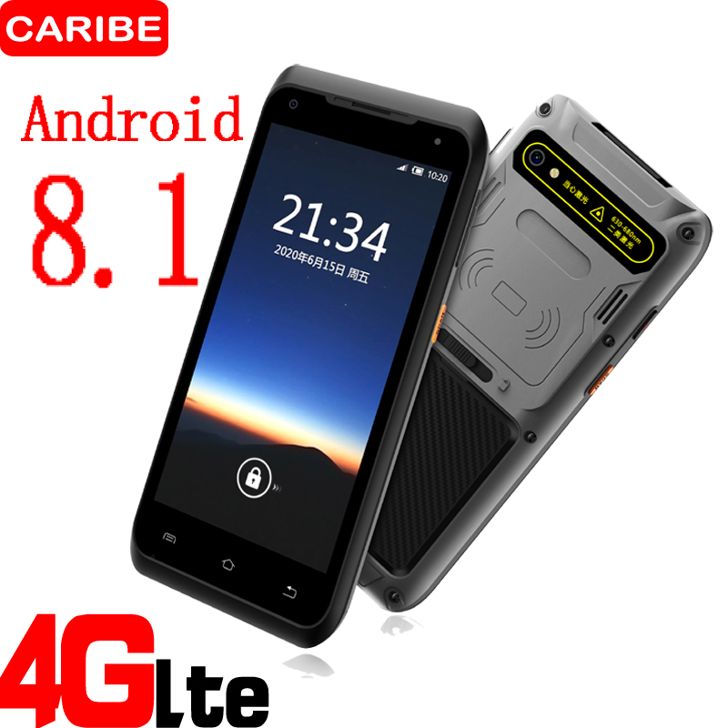 Caribe Rugged PDA Android 8.1 Phone Barcode Scanner 1D 2D UHF RFID Handheld Terminal Data Collector 5.5 inch touch screen