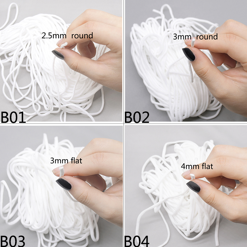 20m Thin White Elastic Bands Round Flat Rope Comfortable Spandex Ear Cord DIY Clothing Crafts Sewing Accessories 2.5mm 3mm 4mm-3