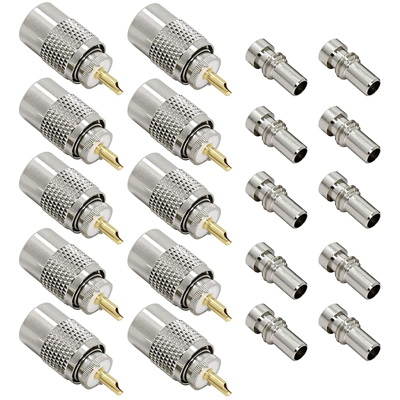HOT-10-Pack UHF PL 259 Male Solder Coax Plug With Reducer PL259