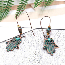 Verdigris Patina Plated Green Hamsa Hand Earring Drop Dangle Palm Charms Pendants Women Jewelry