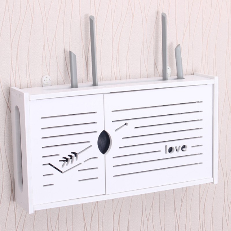 Urijk Wireless Wifi Router Storage Box PVC Panel Shelf Wall Hanging Plug Board Bracket Cable Storage Organizer Home Decor 1pc