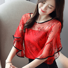 Free shipping Fashion summer New Chiffon lace Print Ruffle Bottom Sexy Blouses shirt female Tops O-Neck Half sleeve 11H3