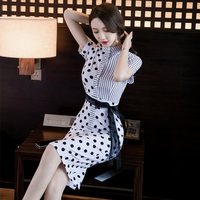 Spring and summer new style Korean temperament ladies wave point slim dress Lace up summer dress
