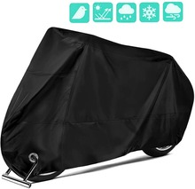 Motorcycle Cover Nylon Waterproof Motorbike Dust Cover – Anti Rust Rain Snow UV Protection with Lock-Holes Universal Protector