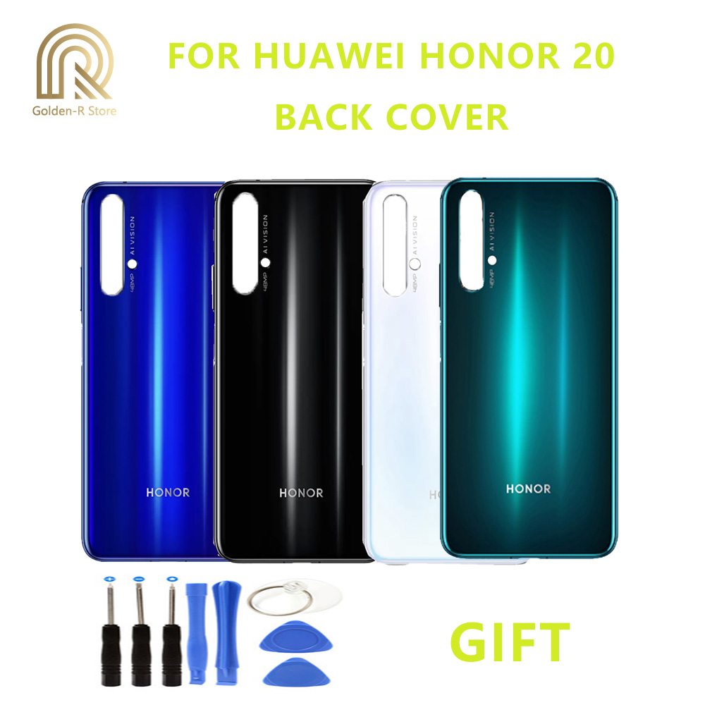 Original Rear Back Housing For Huawei Honor 20 Back Cover Battery Cover Door With Camera Lens For Replacement + Gift