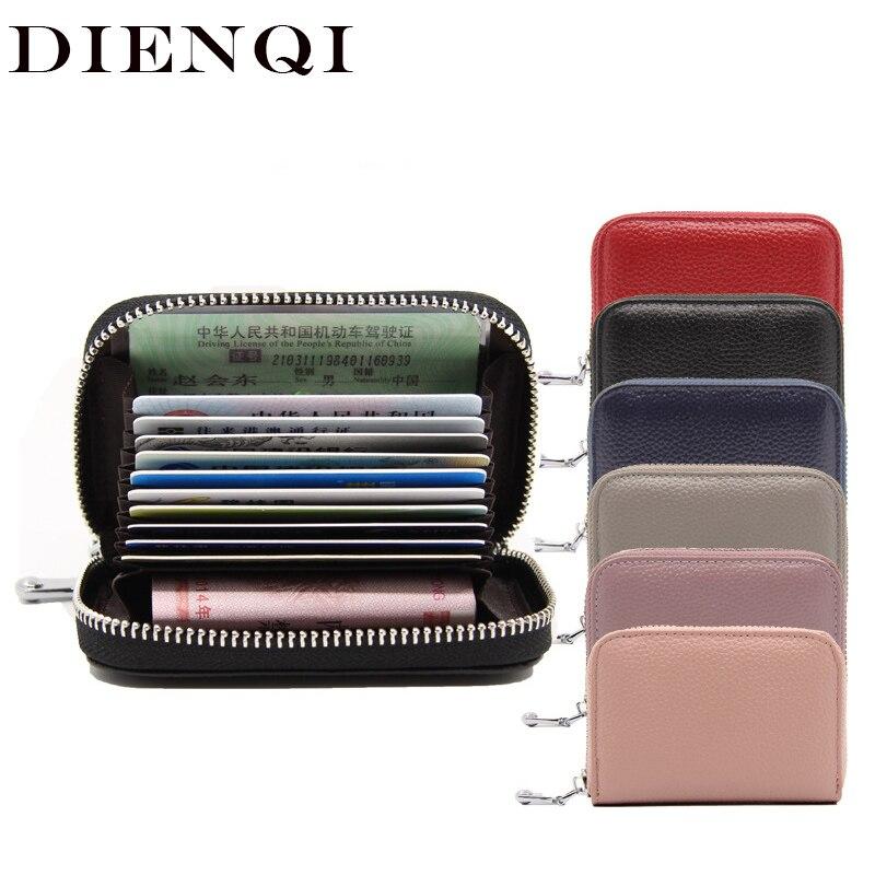 Dienqi couro genuíno mini carteira com zíper titular do cartão curto carteira carteira moeda saco de dinheiro rfid pequenas carteiras e bolsas femininas 2019