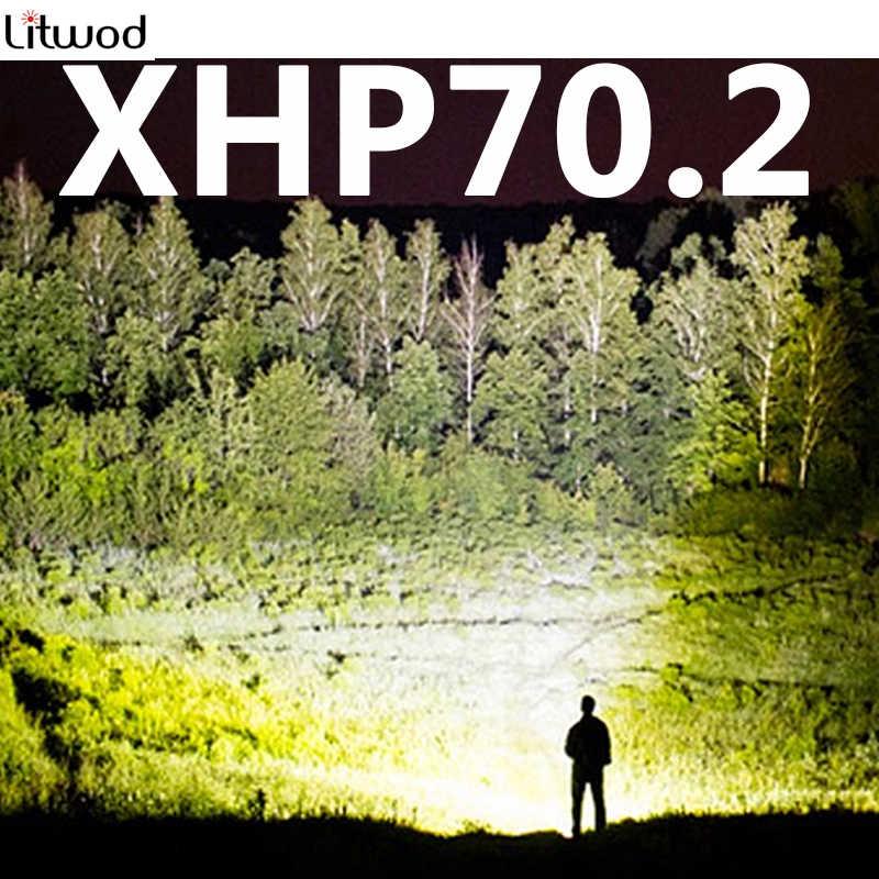 Z90P73 XHP70.2 32w טקטי פנס LED לפיד 3200lm עוצמה זום אור 18650 סוללה עמיד למים עבור חיצוני