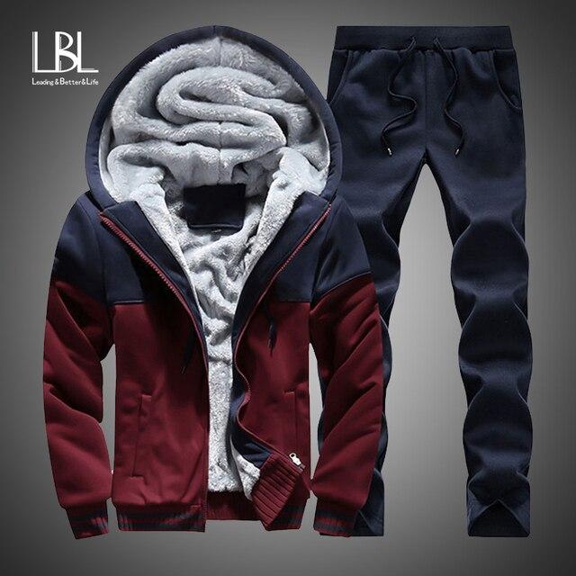 2019 Men Warm Sets Fashion Sporting Thick Suit Patchwork Zipper Hooded Sweatshirt +Sweatpants Mens 2 Pieces Sets Slim Tracksuit 1