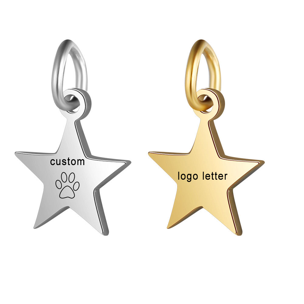 Customized Charms for Jewelry Making Gold Stainless Steel Star Pendant Engrave Logo Letter Diy Earring Bracelet Necklace Lots