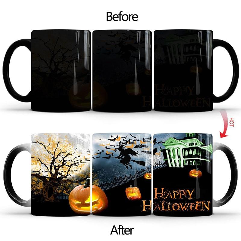 New 350mL Magic Happy Halloween Mug Changing Color Coffee Mugs Cup Morning Milk Creative Gifts