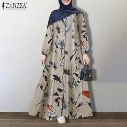 Женский мусульманский сарафан размера плюс ZANZEA, кафтан, абайя с цветочным принтом, винтажное осеннее платье с длинным рукавом и пуговицами, ...