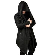 Men Coat Solid Color Hooded Tops Loose Jacket Long Sleeve Irregular He