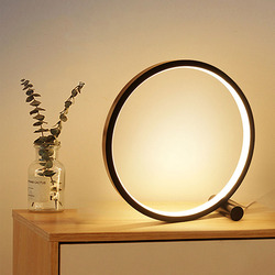 LED Table Lamp For Bedroom Circular Acrylic Desk Lamp For Living Room Black/White Dimmable Bedside Lamp Round Night Light