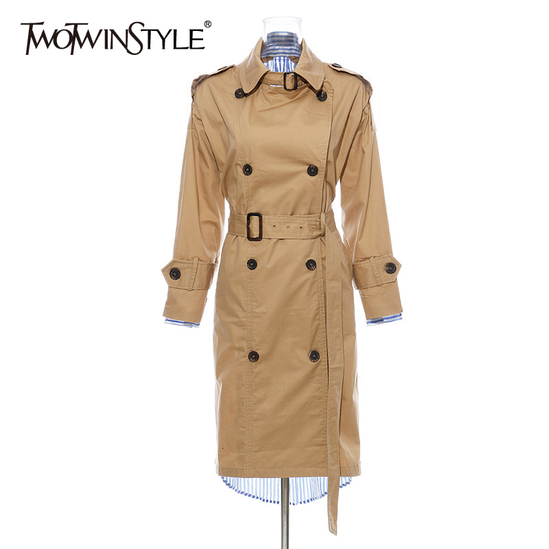 TWOTWINSTYLE Patchwork Striped Women's Trench Coats Lapel Collar Long Sleeve High Waist With Sashes Windbreakers Female Fashion
