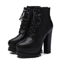 Women Autumn Winter Round Toe Lace Up Ankle Chunky High Heel Platform Knight Martin Boots Motorcycle Cowboy Booties glamorous grey velvet platform chunky heel booties women fancy ribbon lace up decoration block heel ankle boots with inside zip