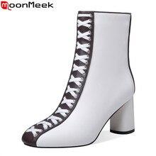 MoonMeek/; женские ботинки из натуральной кожи; зимняя обувь на высоком каблуке; ботильоны на толстом каблуке; цвет черный, белый; большие размеры 33-43
