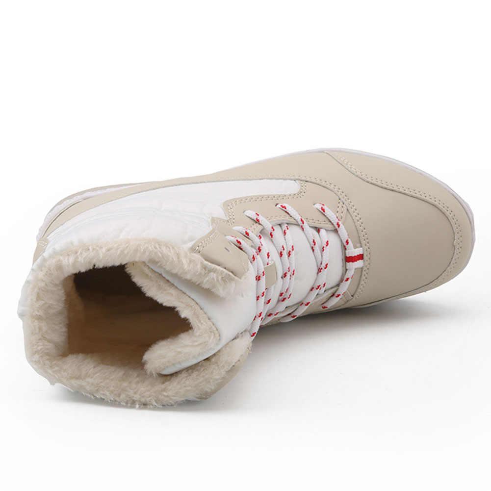 BONJOMARISA Yeni 35-42 Süper Sıcak Kar Botları Kadın 2019 Kış Uzun Peluş Platform Patik Rahat Kış Takozlar Ayakkabı kadın