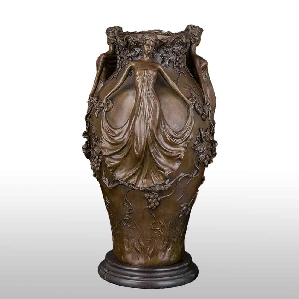39CM Antique Bronze Statues Vase Sculpture Vintage Bronze Figurines Home Decoration|Statues & Sculptures| |  - title=