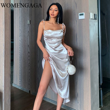 2020 Summer New Fashion Womens Satin Shoulder Strap Sexy Girl Female Dress