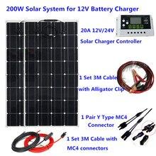 200 Вт Гибкая система солнечных панелей 20A контроллер солнечной энергии 3 м Солнечный Кабель 12 В 24 в зарядное устройство для солнечных батарей для кемпинга/дома крыши/автомобиля