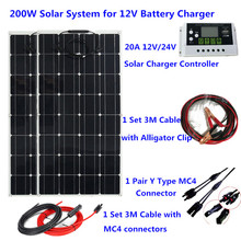 200W مرنة نظام لوحات شمسية 20A جهاز تحكم يعمل بالطاقة الشمسية 3M الشمسية كابل 12V 24V الشمسية شاحن بطارية للتخييم/سقف المنزل/سيارة