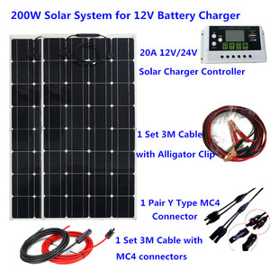 Image 1 - 200W Flexible Solar Panel System 20A Solar Controller 3M solar cable 12V 24V Solar Battery charger for camping/home roof /car