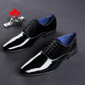 Image 2 - DECARSDZ Men Dress Shoes Men Wedding Fashion Office Footwear High Quality Patent Leather Comfy Men Formal Shoes Brand Men Shoes
