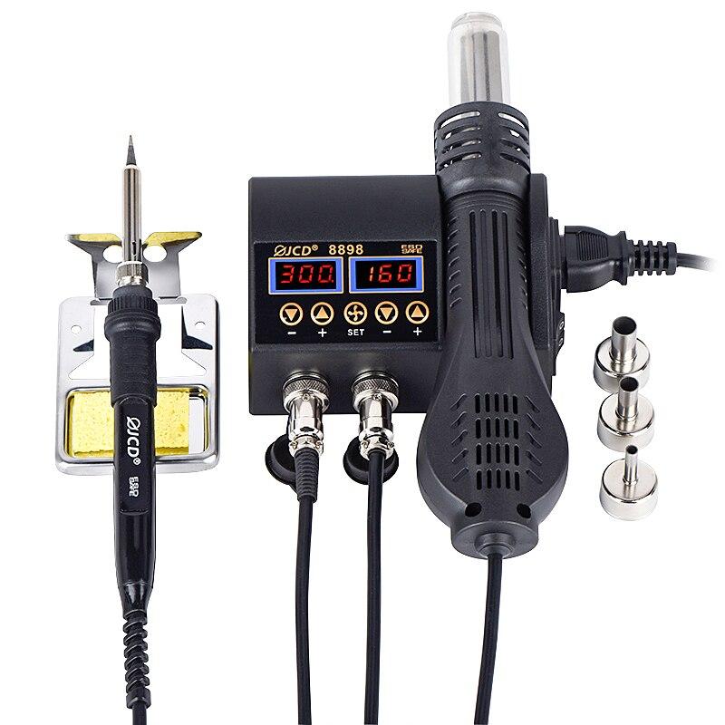 2 in 1 stazione di Saldatura 750W display Digitale A CRISTALLI LIQUIDI di saldatura stazione di rilavorazione per il cellulare-telefono BGA SMD PCB IC di Riparazione di saldatura strumenti di 8898