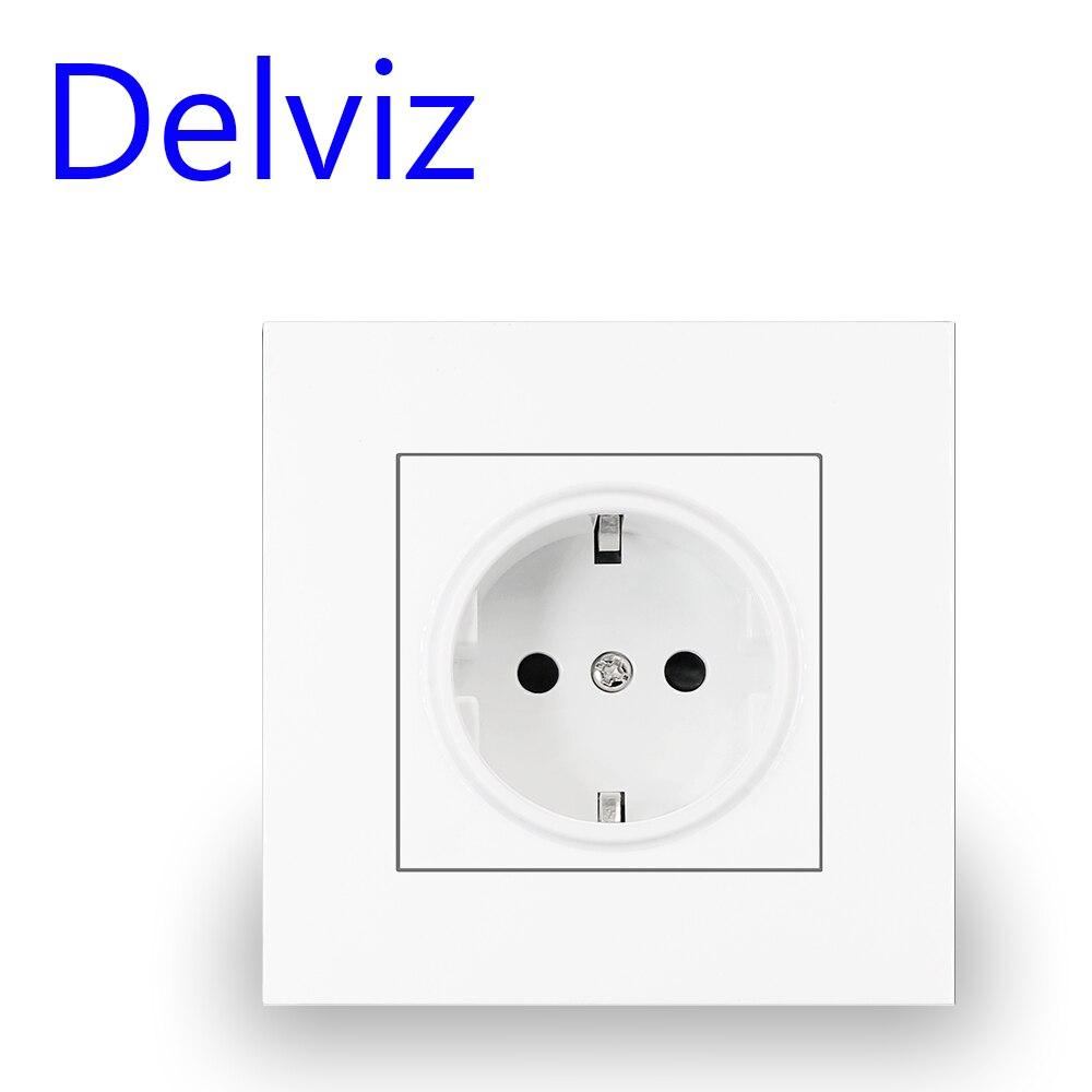 Delviz Wall 16A Power Socket, New style Crystal Glass Panel,AC 110V-250V,White/Black/Gray, Household Embedded EU Standard Outlet