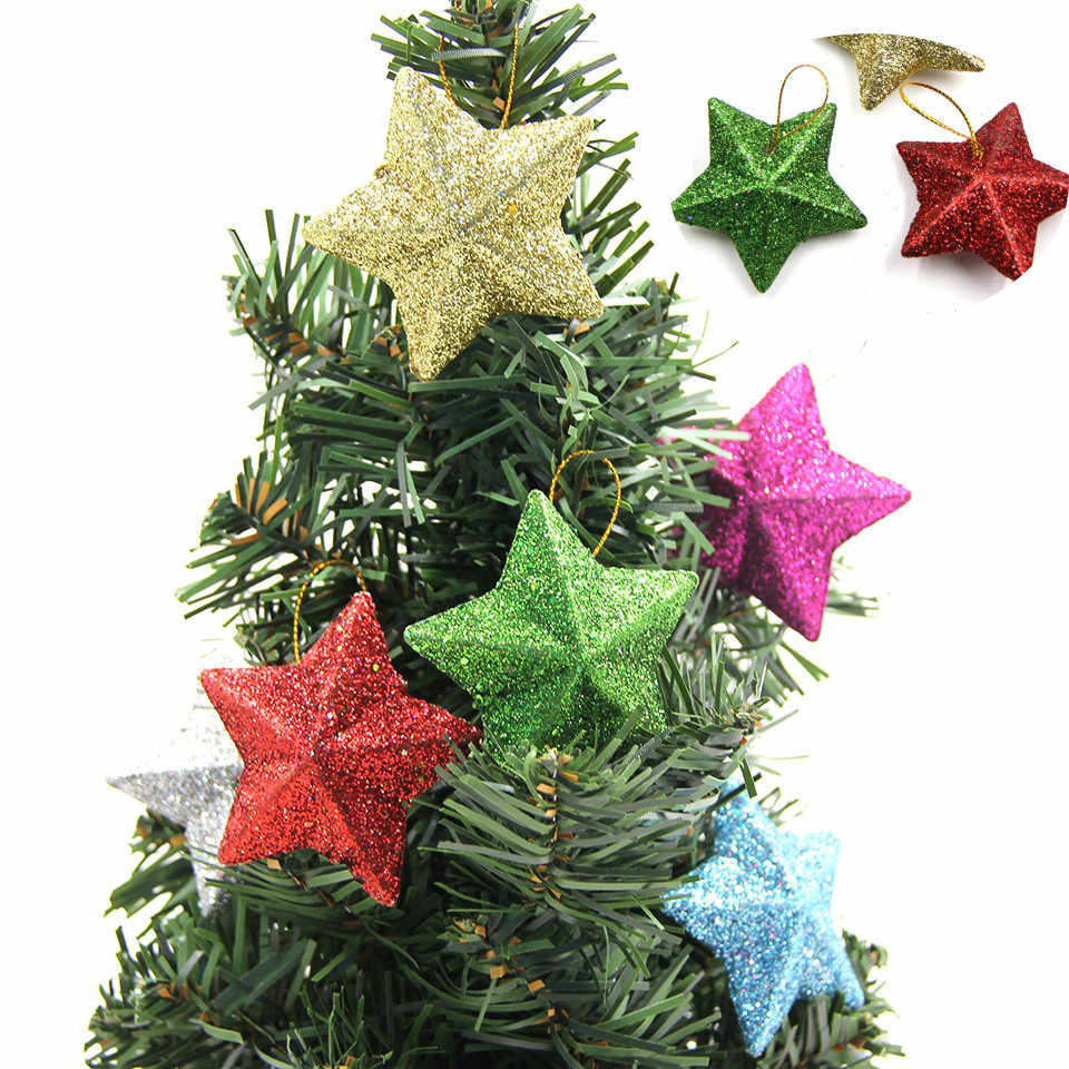 6PCS 2019 DIY Gillter Stars Christmas Pendant Ornaments DIY Craft Kids Gift Xmas Tree Ornament Christmas Party Decorations@2