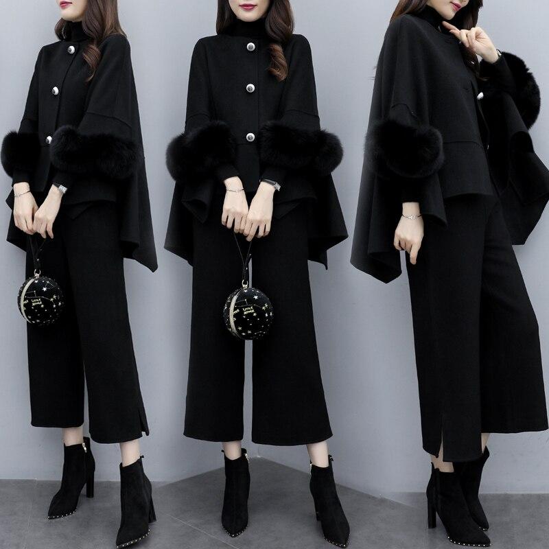 Woolen conjunto de duas peças topo e calças feminino terno moda feminina conjuntos roupas conjunto femme deux peças conjunto feminino