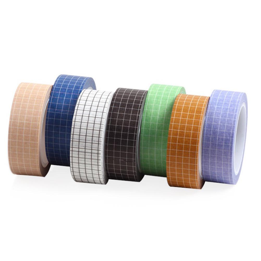 7 Rolls Grid Washi Tape Set 10M(33ft) Colorful Writable Paper Adhesive Masking Tapes 15MM(3/5in) Width Sticky Paper Tape