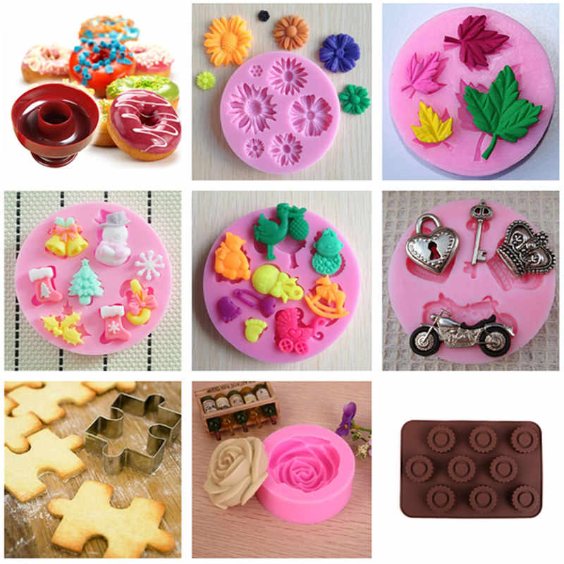 Varieties Silicone Mold Ice Cube Candy Chocolate Cookie Cupcake Soap Moulds DIY Fondant Baking Cake Decorating Tools