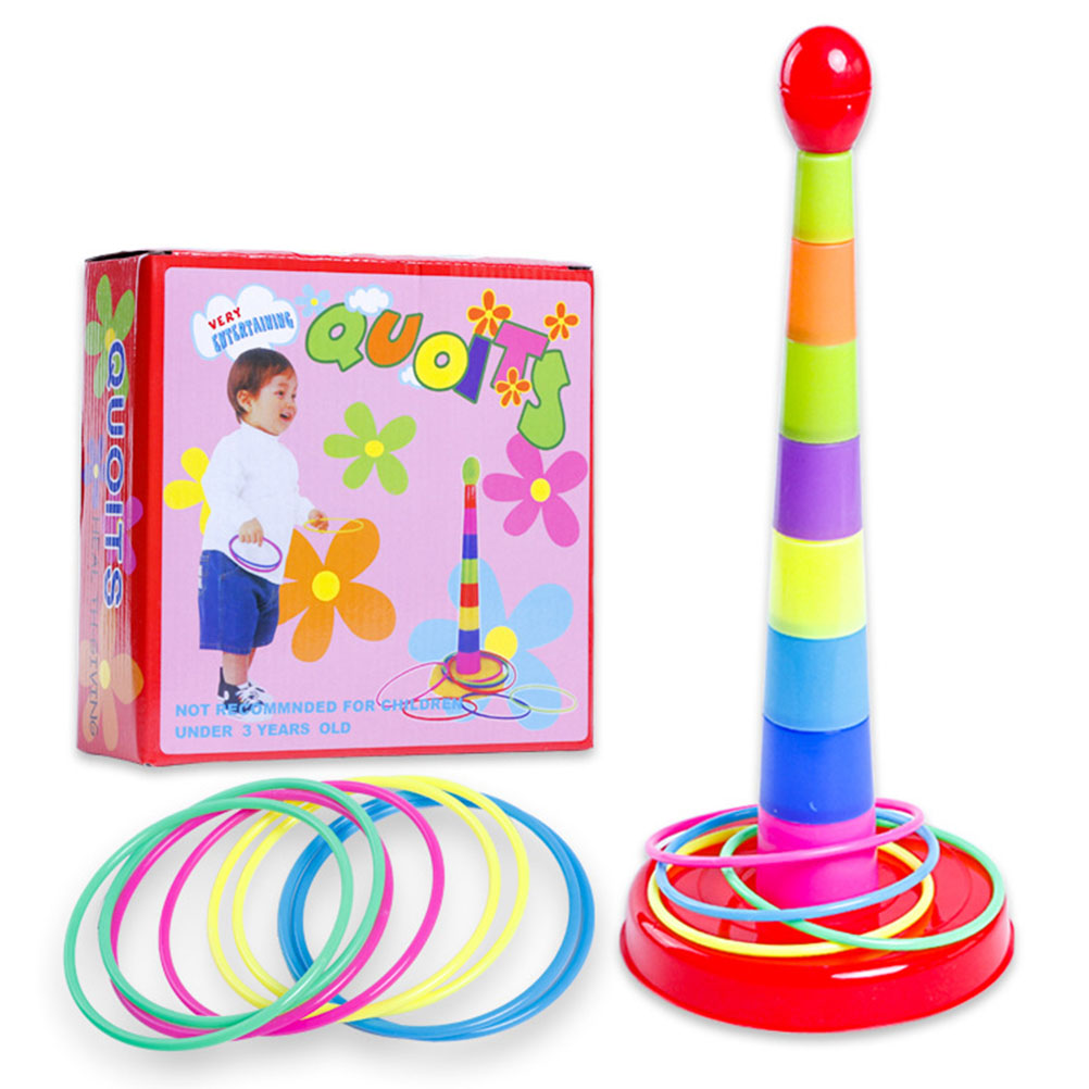 Colorful Seven-Story Tower Toy Stacks Of Music Throwing Circle Intellectual Development Sports Games Parentchild Educational Toy