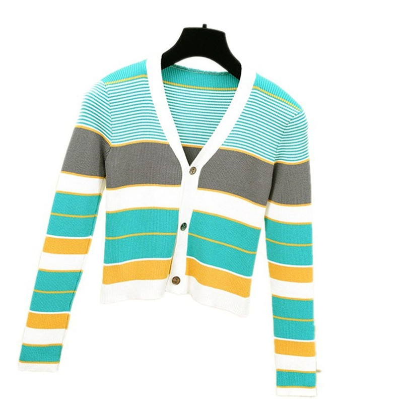 Striped Cardigan Women Ctop Top Long Sleeve Sweater V Neck Sexy Cardigan Knitting One Size Pull Femme Nouveaute 40OCT1620
