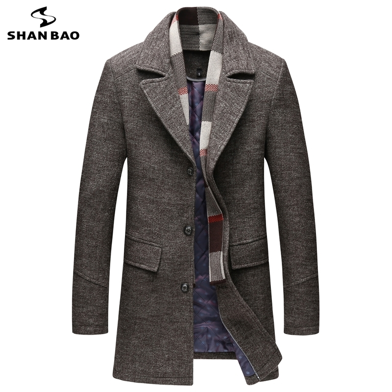 SHAN BAO brand clothing winter thick and warm men's slim long wool coat classic lapel young casual large size woolen coat M-5XL