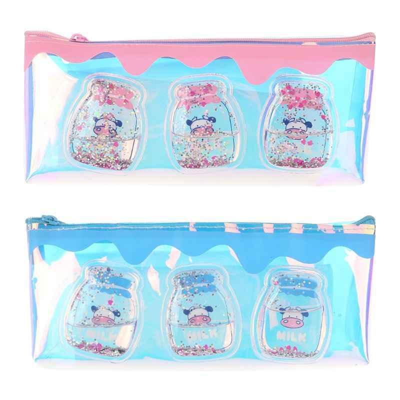 Kawaii Laser Milk Bottle Pencil Case Iridescent Transparent Cosmetic Makeup Bag Pouch School Supplies Stationery Gift