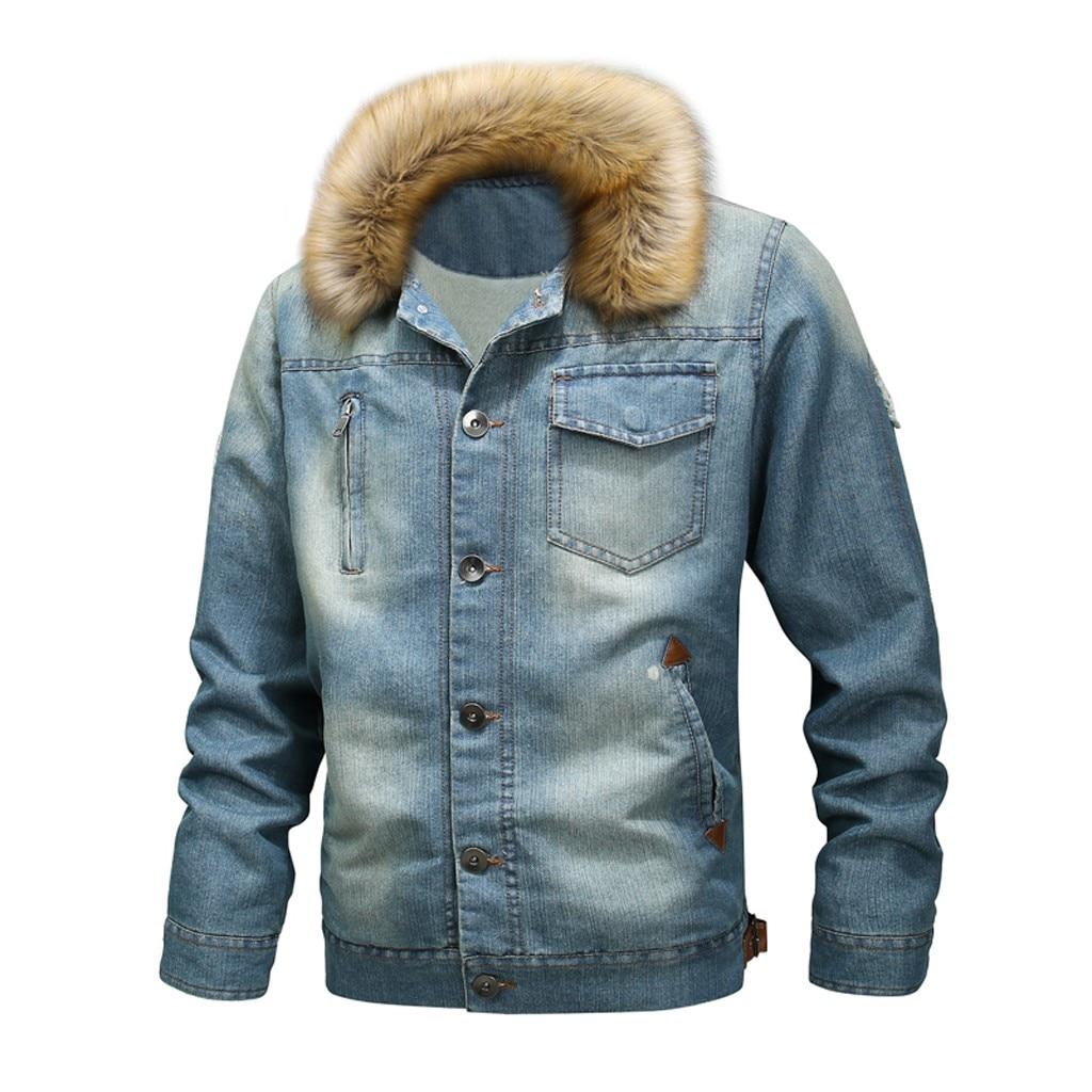 Hommes cou automne hiver Vintage en détresse Demin veste hauts manteau Outwear laine doublure plus épais hiver Denim vestes taille 10.17