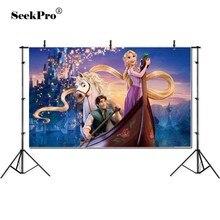 Aanpassen Tangled Rapunzel Prinses Boot Paard Banner Photo Achtergrond Gedrukt Studio Professionele Indoor Fotografische Achtergrond