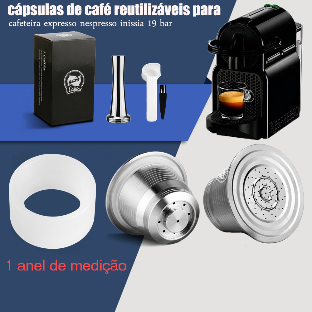 iCafilas For Cafeteira Expresso Nespresso inissia 19 bar Refillable Coffee Capsule Pod Stainless Steel and Tamper Wholesale(China)