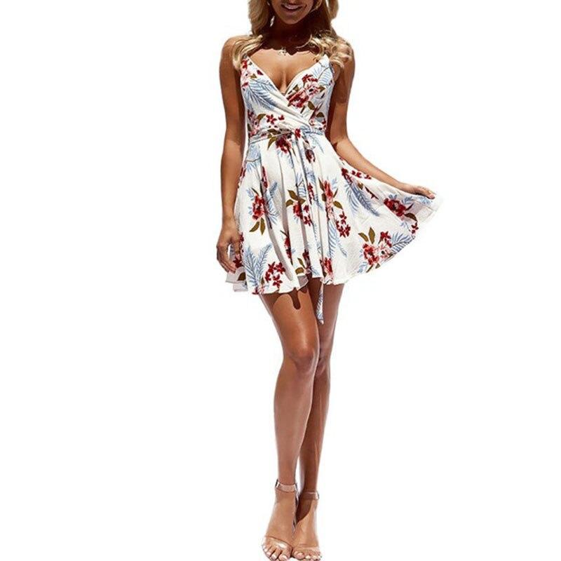 Women Dress Summer V Neck Mini Floral Print Swing Dress Sleeveless Spaghetti Strap Skater Dresses with Belt 3