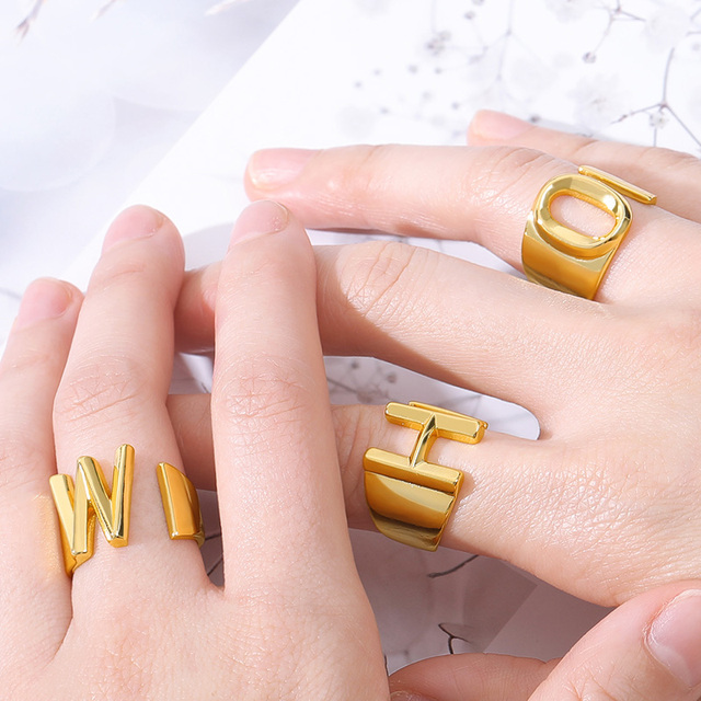 Adjustable A-Z Letter Ring For Women Gold Metal Opening Ring Initials Name Alphabet Female Party Fashion Jewelry Gift For Her 4