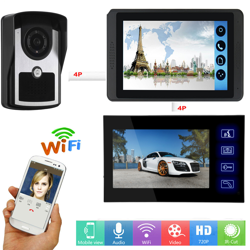 7 Inch Touch Monitor Wifi Wireless Smart IP Video Door Phone Doorbell Visual Video Intercom System Android IOS APP Remote Unlock