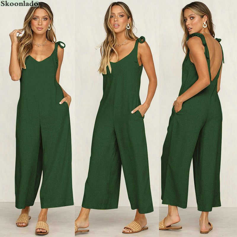 Newest Plus Size S-5XL Women Summer Cotton Linen Jumpsuit Cool Fashion Style Linen Lady Jumpsuit Oversize Linen Women Clothes Ch