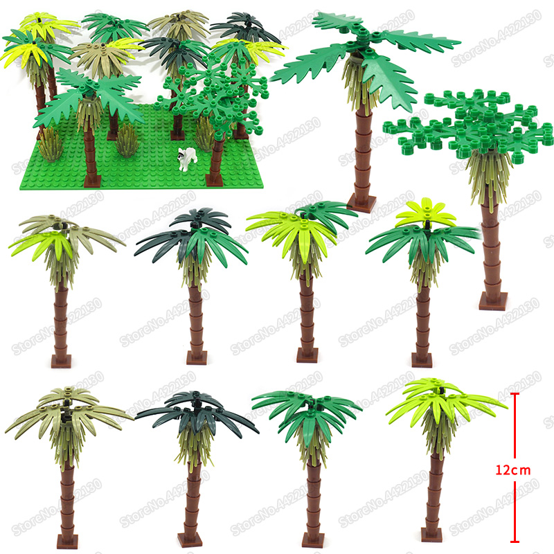 Tree Shrub Set PUBG Building Blocks Piece Lot Military City Street Special Forces Figures Weapons Building Christmas Gifts  Toys