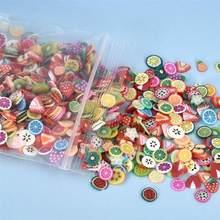 1000 pcs/Pack argile résine remplissage fruits feuille fleurs modèle coloré mélangé remplissage pour bricolage résine époxy bijoux Nail Art décoration