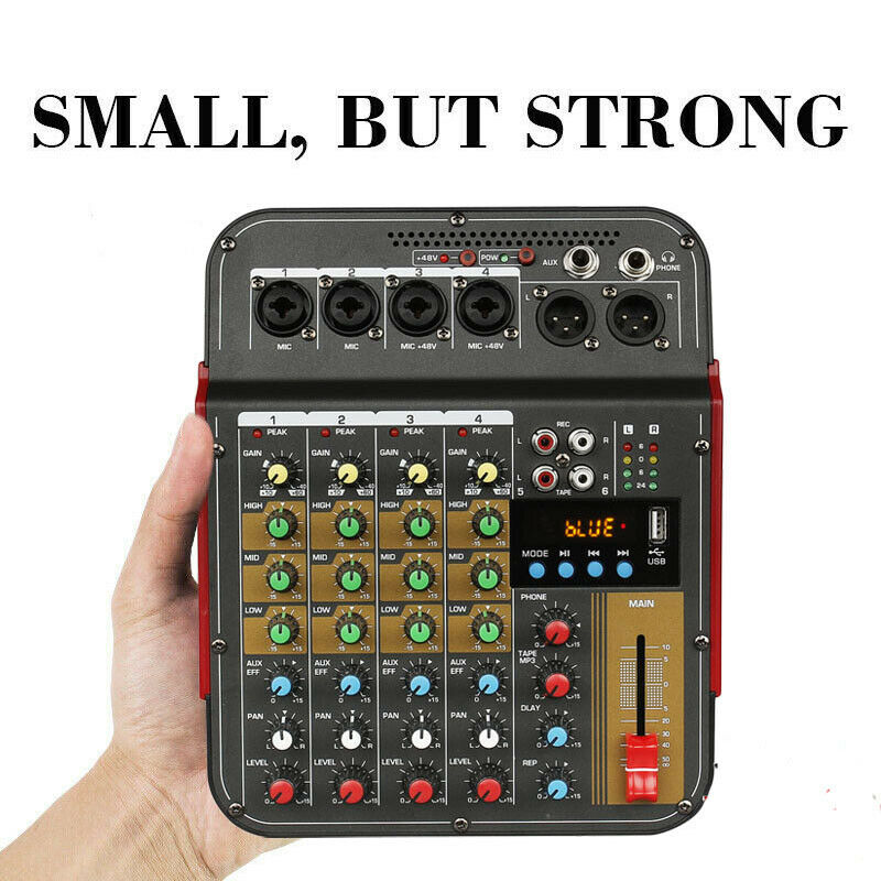 Tragbare 4 Kanäle USB Mini Sound Mischpult Audio Mixer Verstärker Bluetooth Rekord 48V Phantom Power