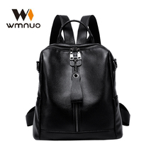 Wmnuo Backpack Women Black Cow Leather College Bag For Girls