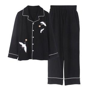 Image 5 - Bzel新ファッションパジャマの女性の綿のかわいいパジャマ女の子長袖トップス + パンツポケットポルカドットカジュアルラウンジ着用