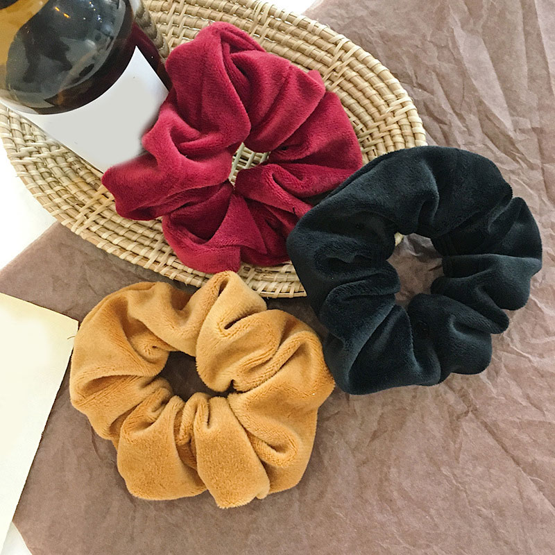 Velvet Elastic Hair Scrunchie New Fashion Solid Color Thick Rubber Bands Haar Hair Accessories Ponytail Hair Ring Ties Hot Sale